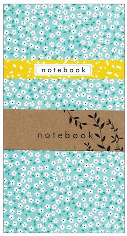blue ditsy, notebook