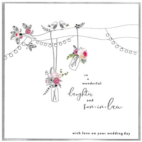 daughter & son-in-law wedding, extra large card