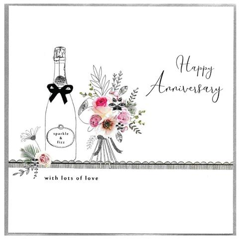 anniversary, sparkle & fizz, extra large card